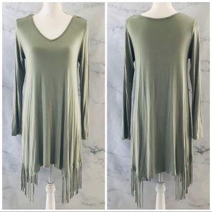 MI AMI Boutique Fringe Long Sleeve Tunic Dress
